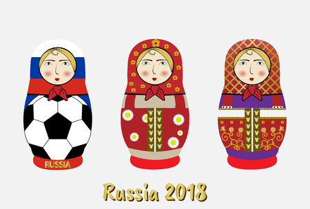 group of russia tradition souvenir dolls or Matryoshka and various pattern,vector illustration