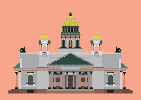flat style isolate vector of St. Isaac's Cathedral landmark of st.petersburg Russia illustration,vector element