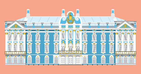 flat style isolate vector of Catherine Palace landmark of st.petersburg Russia illustration,vector element