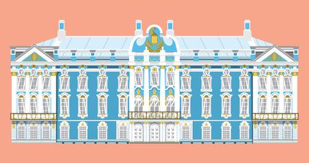 Vector aislado de estilo plano del hito del Palacio de Catalina de la ilustración de San Petersburgo Rusia, elemento vectorial