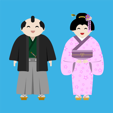 flat style cartoon character smiling japanese man and woman in tradition costume on blue background vector