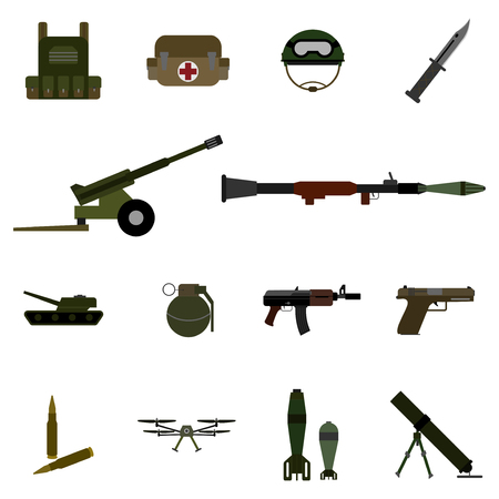 military armory and equipment flat stlye color icon set vector illustration 向量圖像