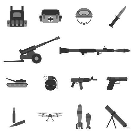 military armory and equipment gray color flat stlye icon set vector illustration