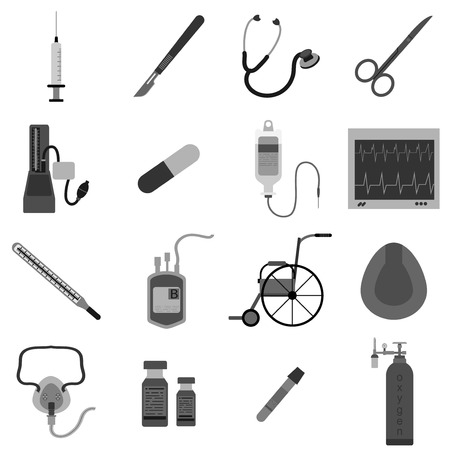 Medical equipment icon gray color set vector illustration