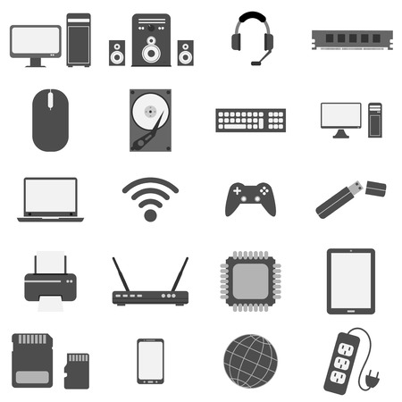 computer hardware and equipment  icon set flat style gray color  vector