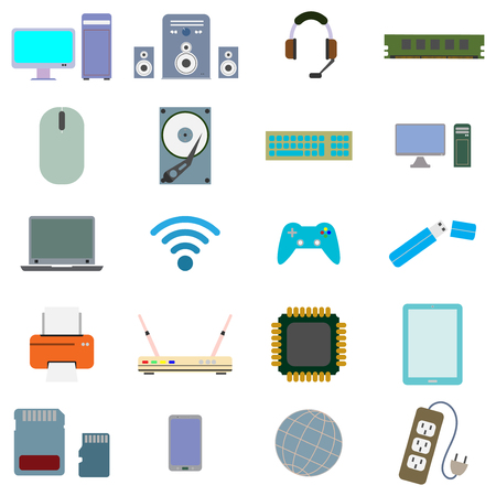 computer hardware and equipment  icon set flat style  color  vector