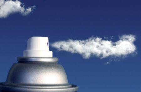 aerosol: A can in a cloud Stock Photo