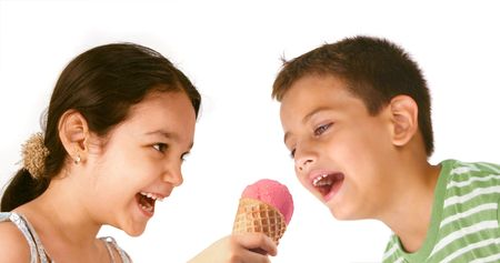 Kids Sharing Ice Cream photo