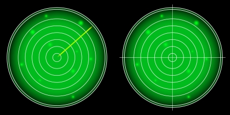 Glowing Radar Screen with Luminous Targets vector illustration Vector
