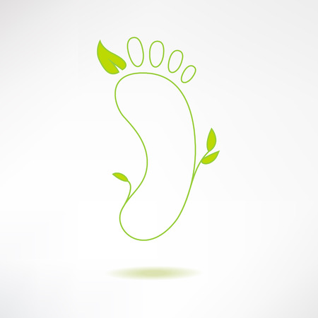 reflexology: Foot logo with green leaf. Ecology and massage concept. Footprint icon isolated on stylish background. Vector Illustration