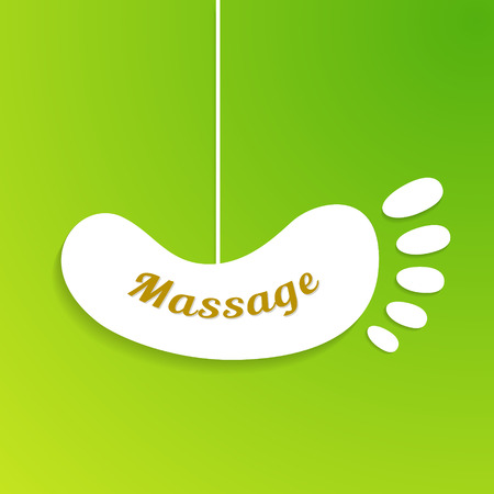 Massage sign and logo. Isolated foot board hanging on the rope. Vector illustration Vector