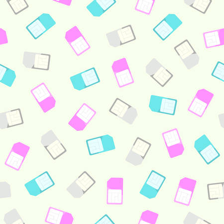 simcard: Sim card seamless pattern and background. Flat design coloured simcards texture. Vector illustration