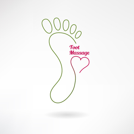 Feet massage sign and foot logo with heart. Isolated on white background. Vector illustration