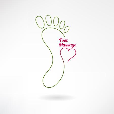 pies: Signo Pies de masaje y el logotipo de pie con el coraz�n. Aislado en el fondo blanco. Ilustraci�n vectorial