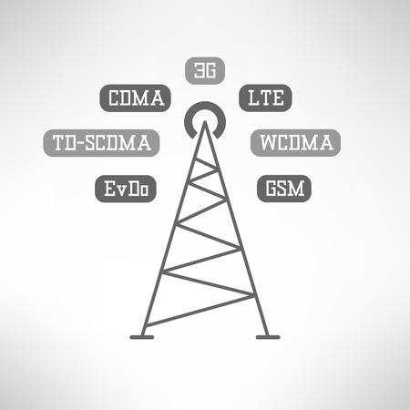 cdma: Mobile signal tower station made in modern flat design. Mobile internet infographics. Vector illustration