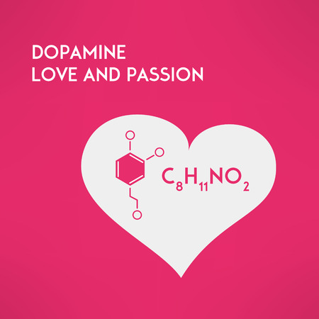 Love chemistry and passion concept. Dopamine molecule inside red heart icon made in modern flat design. Vector illustration