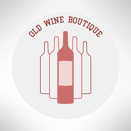 boutique shop: Old wine boutique shop icon in modern flat design. Vector illustration