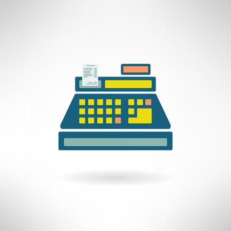 Cashier counter in modern flat design. Supermarket register icon. Vector illustration Vector