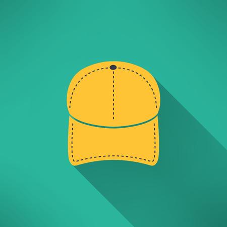 simbolo uomo donna: Berretto da baseball con una lunga ombra. Nazionale concetto abbigliamento americano. Illustrazione vettoriale
