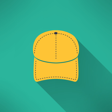 gorro: Gorra de béisbol con una larga sombra. Concepto Nacional ropa americana. Ilustración vectorial