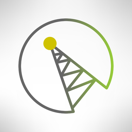 telecommunication tower: Mobile signal tower station made in modern flat design. Telecommunication icon. Vector illustration