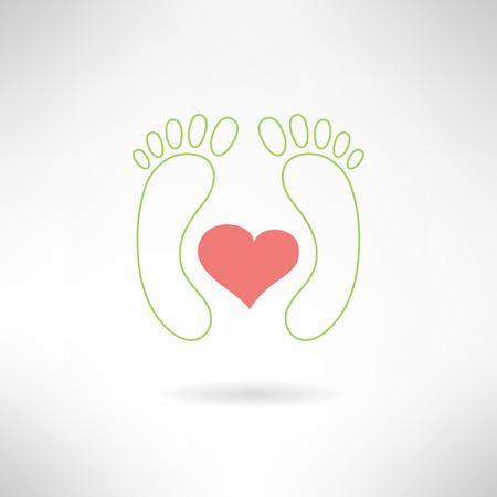 Feet massage sign and feet logo with heart. Isolated on white background. Vector illustration Vector