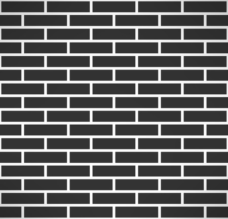 stonewall: Black brick wall seamless pattern. Simple building stonewall background. Vector illustration