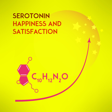 Happiness chemistry and satisfaction concept. Serotonin molecule formula made in modern flat design. Vector illustration Ilustração