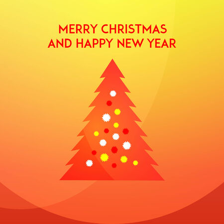 Christmas and new year tree on a red and yellow background in modern flat design. Winter holidays greeting card template. Vector illustration Vector