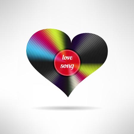 love song: Vinyl heart shape. Love song concept. Vector illustration