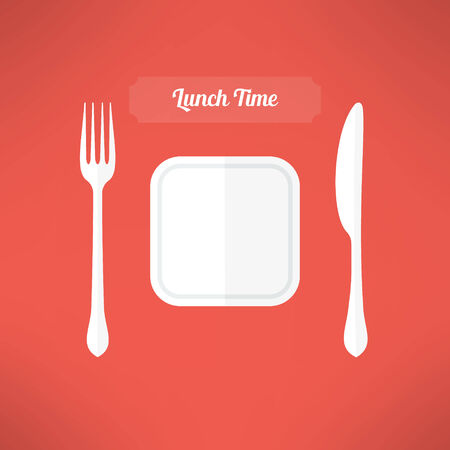 moder: Plate, fork and knife made in moder flat design. Lunch time concept. Vector illustration