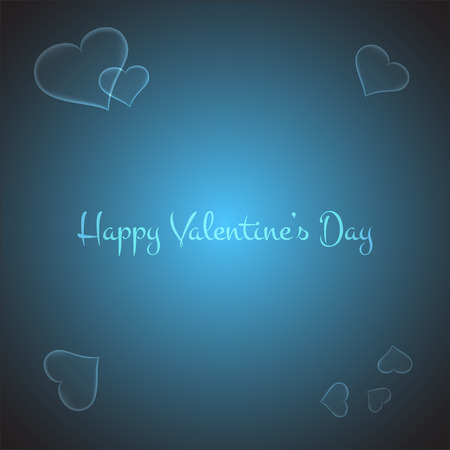 brigth: Valentines card with stylish hearts on brigth blue background. Vector illustration Illustration
