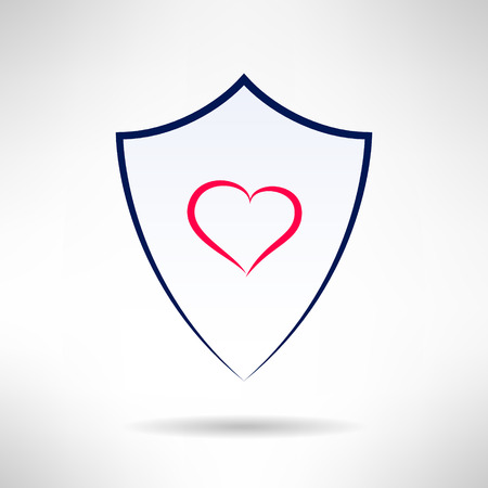 defence: Heart and love simple thin lines shield icon. Health defence concept. Vector illustration Illustration