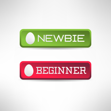 newbie: Simple newbie button with egg icon on it. Beginner sign. Vector illustration Illustration