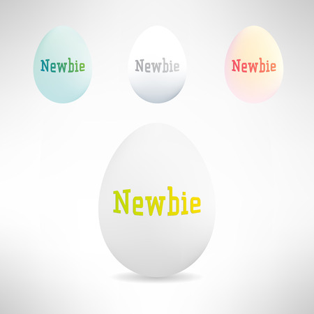 newbie: Realistic egg with newbie text on it. Beginner concept. Vector Illustration