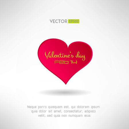 Red heart icon with valentines text and date on it. Love concept. Vector illustration Vector