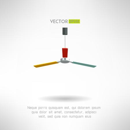 ceiling fan: Colorfull bright ceiling fan. Vintage home ventillator. Vector illustration