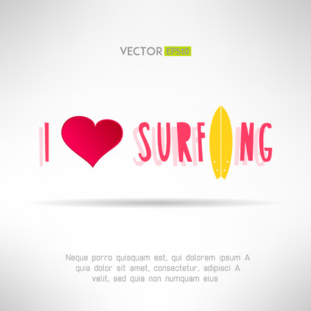 Bright colorful surfing tshirt print. Love heart sign with surfing board. Vector illustration Vector