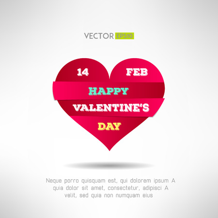 Red heart cut icon with valentines text and date on it. Love concept. Vector illustration Vector