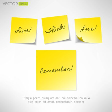 Yellow note sticker with message. Paper reminder. Vector Vector