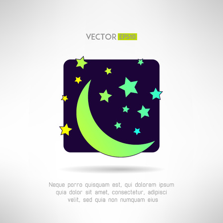 meteorological: Moon crescent and stars icon. Night sky sign. Vector illustration