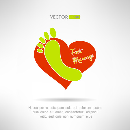 Feet massage sign and foot icon on top of a red heart. Health concept. Vector illustration
