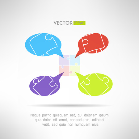 comunication: Puzzle chat comunication template for infographics. Teamwork concept. Vector illustration Illustration