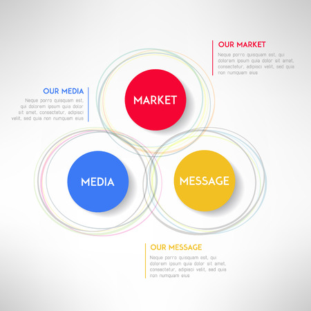 Media market message infographic diagram. Corporate strategy schema. Vector illustration Ilustração