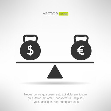 inclination: Euro and dollar equal on scales. Market balance and european economy crisis concept. Vector illustration