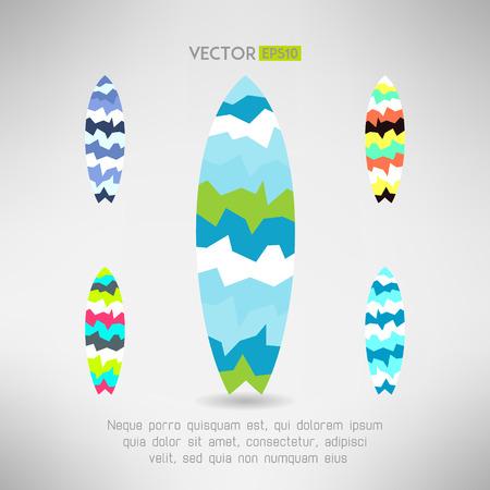 surfing board: Geometrical surfboard designs set. Surfing board icon. Vector illustration