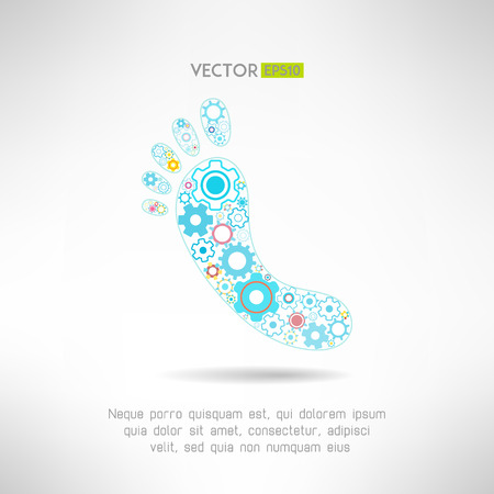 reflexology: Feet massage sign and logo with gears. Health mechanics concept. Vector illustration Illustration