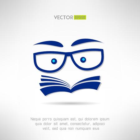 Boek gezicht met een bril icoon. Leren en lezen concept. Vector illustratie Stock Illustratie