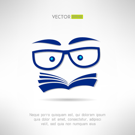reading glass: Book face with glasses icon. Learning and reading concept. Vector illustration Illustration
