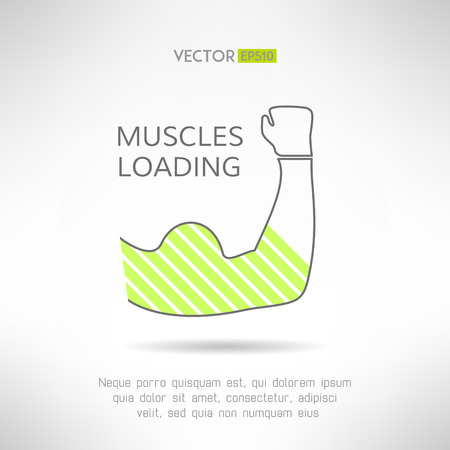 elbows: Arm with strong biceps. loading muscles idea. Vector illustration Illustration